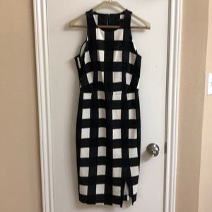 Adorable black and white checkered sheath dress